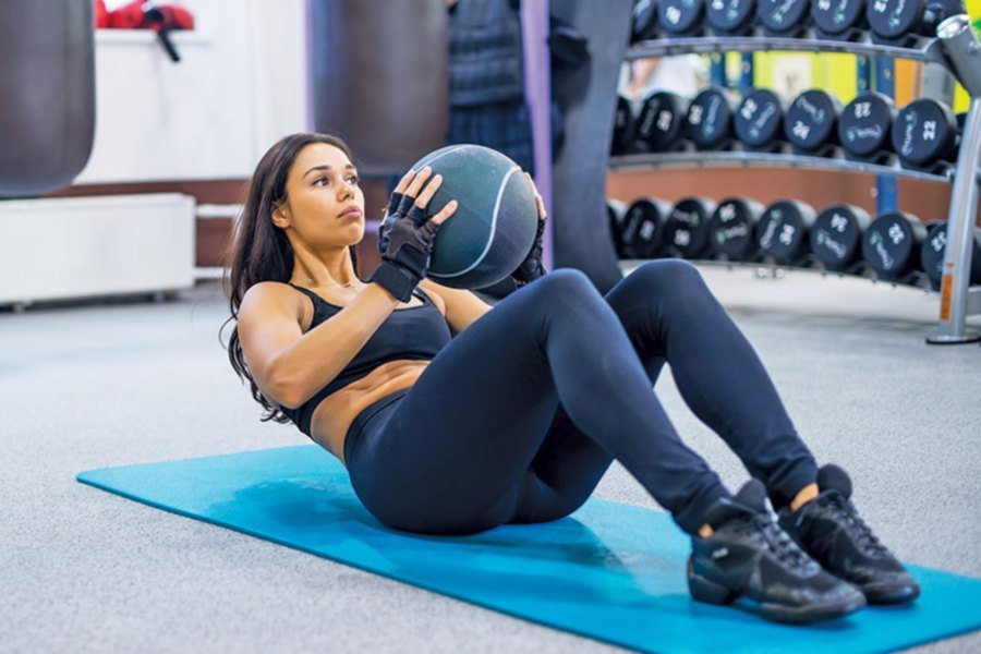 Abdominal crunches for strength training. Picture from: demandstudios.com