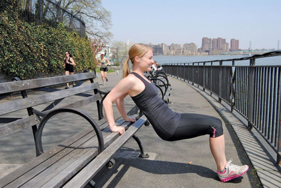 Tricep dip for bodyweight training. Picture from www.brittanybendallfitness.com