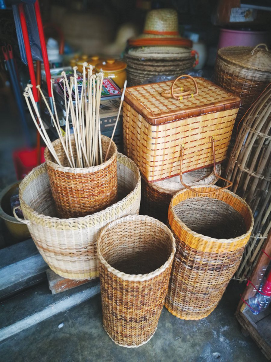 Various types of baskets and the most feared tool of punishment — the rotan.