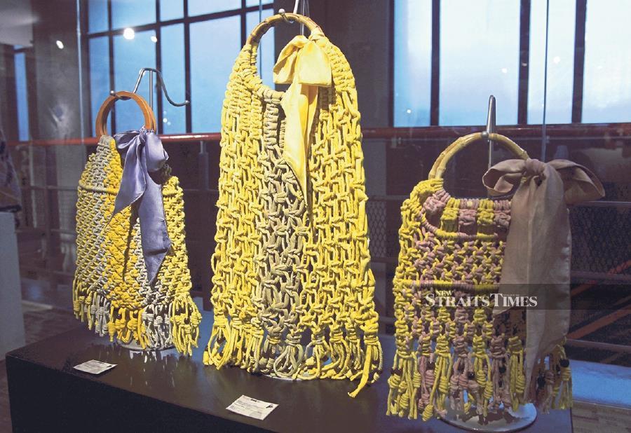 A macrame handbag collection by Universiti Teknologi Mara's Textile Design student, Hanisah Salwah Muhd Hatta Arraz, on display at the TEEED. -NSTP/Nik Hariff Hassan