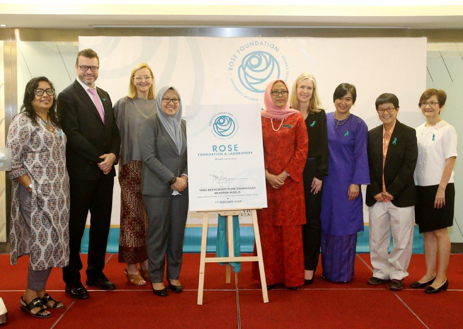 Isnaraissah (fourth from left), Dr Woo (seventh from left) and VCS Foundation executive director Prof Dr Marion Saville (third from left) with other guests at the launch of Rose Foundation and Laboratory.
