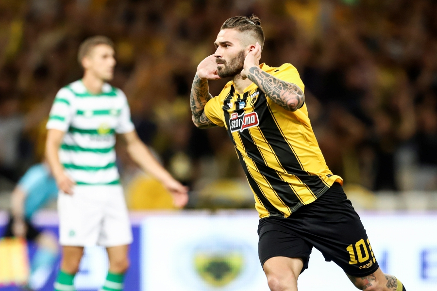 Marko Livaja of AEK FC celebrates scoring during the UEFA Champions League third qualifying round, second leg, soccer match between AEK FC and Celtic FC in Athens, Greece. EPA