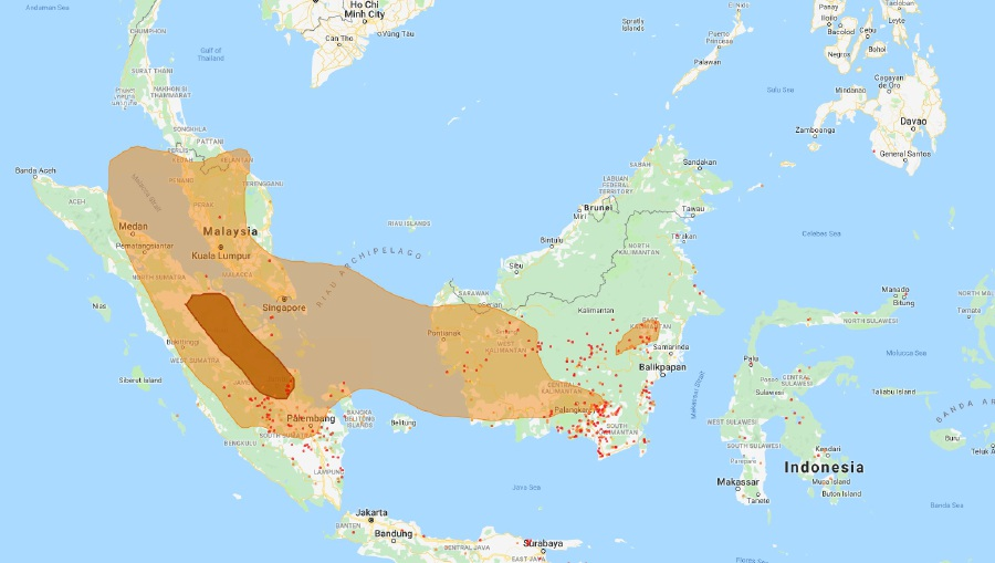 The ongoing forest fires in Sumatra and Kalimantan, Indonesia are still contributing to the transboundary haze and hike in Air Pollutant index (API) in all areas of the peninsula, Sarawak and western Sabah, according to the Department of Environment (DOE) today. Pic source from apims.doe.gov.my