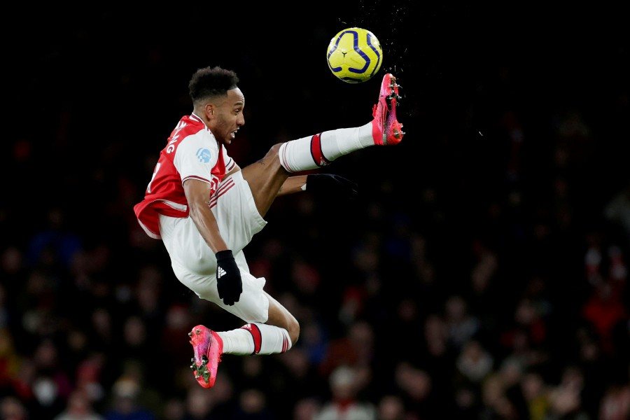 Arsenal's Pierre-Emerick Aubameyang in action. -Reuters