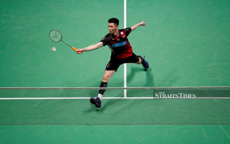 Lee Zii Jia in action in today's semi-final match of the All England against Denmark's Viktor Axelsen at Arena Birmingham. REUTERS PIC