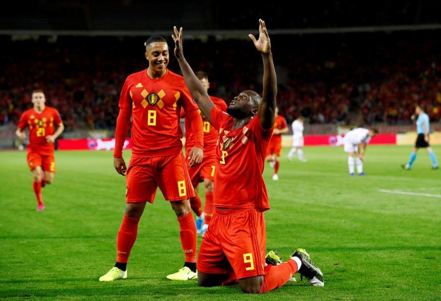 Euro 2020 Qualifier - Group I - Belgium v San Marino - King Baudouin Stadium, Brussels, Belgium - October 10, 2019 Belgium's Romelu Lukaku celebrates scoring their first goal. - REUTERS/Francois Lenoir