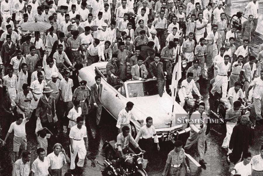 Tunku Abdul Rahman, being sent off on his London 'Merdeka' mission on Jan 2, 1956. - NSTP file pic