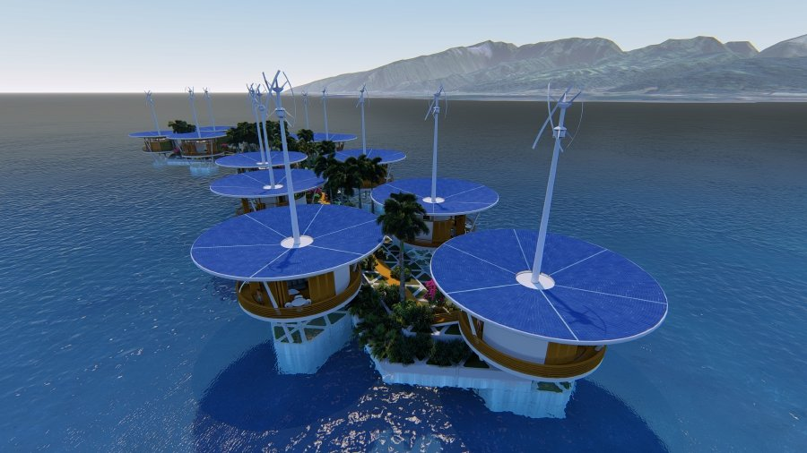 Blue Frontiers — Floating Island Project — Polynesia concept.