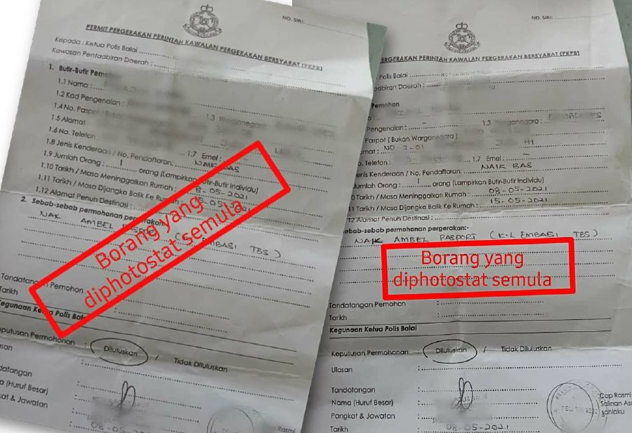 Two foreigners paid a friend RM400 to obtain interstate travel forms to travel by express bus from Penang to Kuantan. - NSTP/ courtesy of PDRM