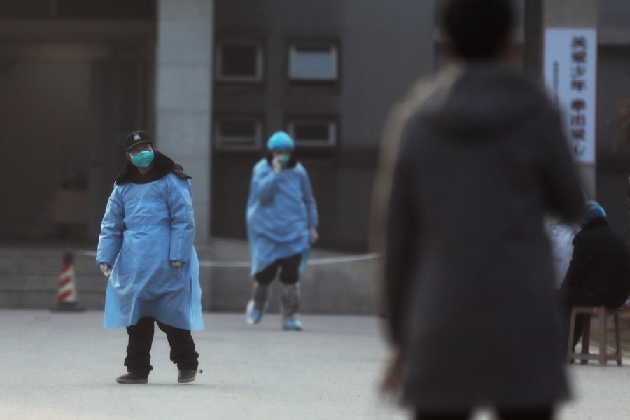 A security personnel wearing a mask is seen at the Jinyintan hospital, where the patients with pneumonia caused by the new strain of coronavirus are being treated, in Wuhan, Hubei province. -REUTERS