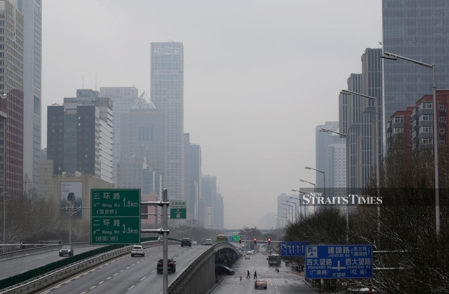 A general view of Jianguo Road in Beijing, China, as the country is hit by an outbreak of the new coronavirus, February 2, 2020. REUTERS