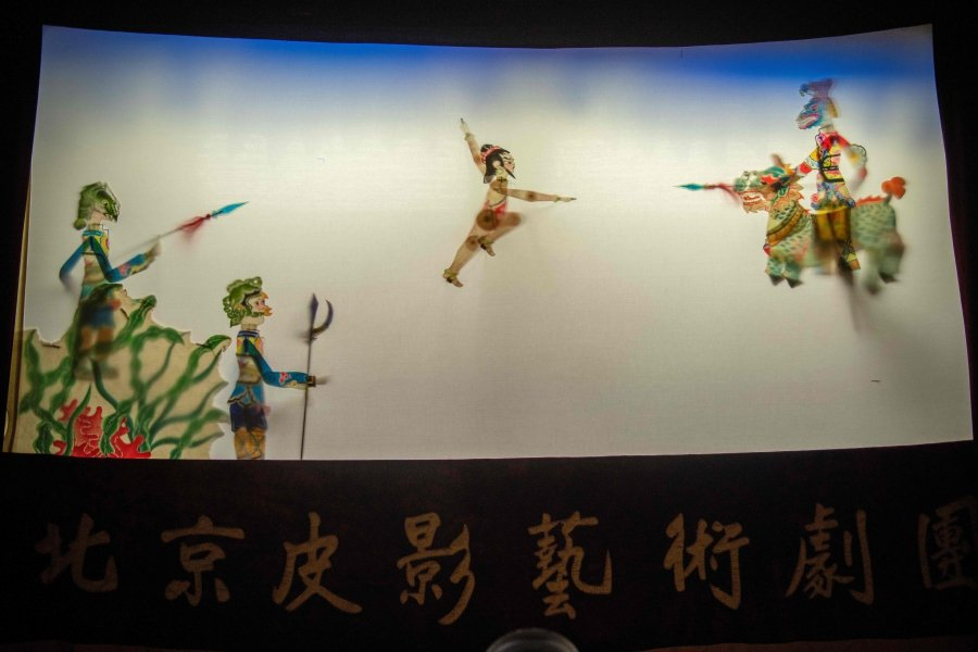 (File pix) In this picture taken on May 10, 2019, puppets are seen on a shadow theatre stage during a performance by the Beijing Shadow Show Troupe at a school in Beijing. AFP Photo