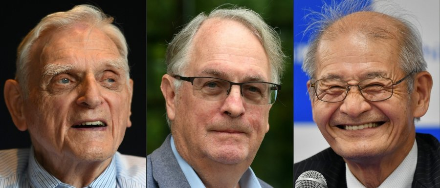 (File pix) This combination of pictures created on Oct 9, 2019 shows (L-R) American professor and solid-state physicist, John Goodenough during a press conference at The Royal Society in London, British professor Stanley Whittingham posing in Ulm, southern Germany and Japanese chemist Akira Yoshino speaking to media Tokyo. AFP Photos