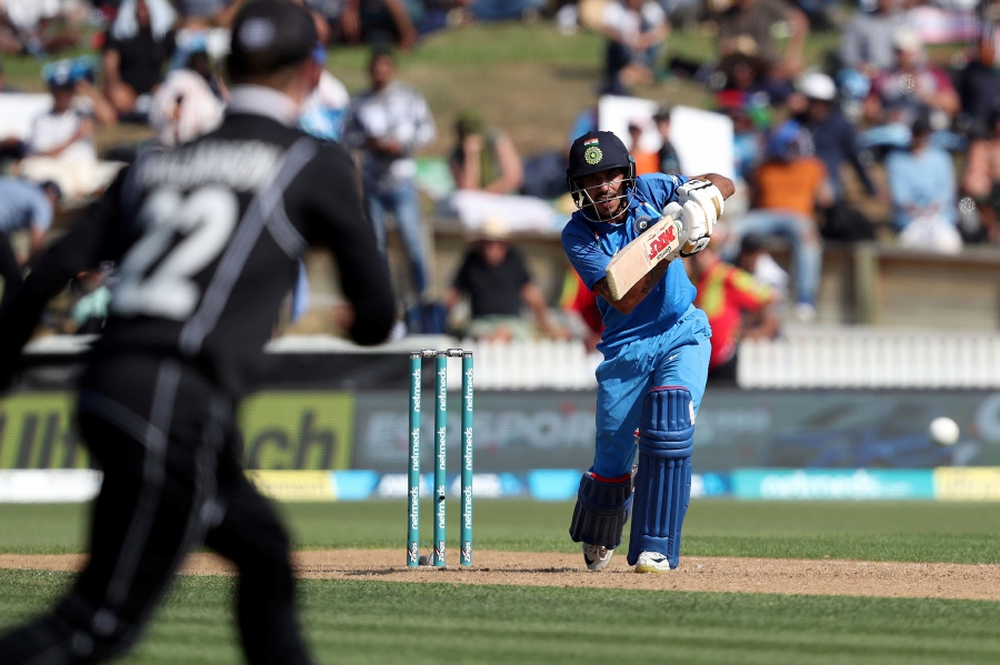 India's Yuzvendra Chahal (right) bats during the fourth one-day international cricket match between New Zealand and India at Seddon Park in Hamilton on Jan 31, 2019. AFP Photo