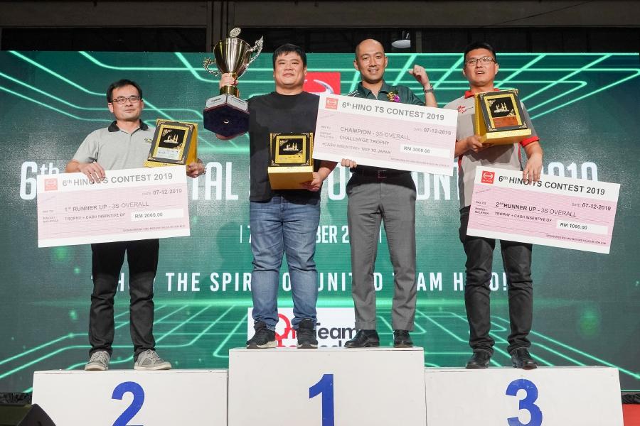 (File pic) Hino Malaysia managing director, Atsushi Uchiyama with the winners of TS Contest held at Petaling Jaya recently. Photo courtesy of Hino