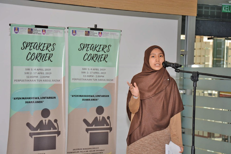 Sofea Jasmeen Johari , a second-year oil and gas engineering student, expresing her ideas.