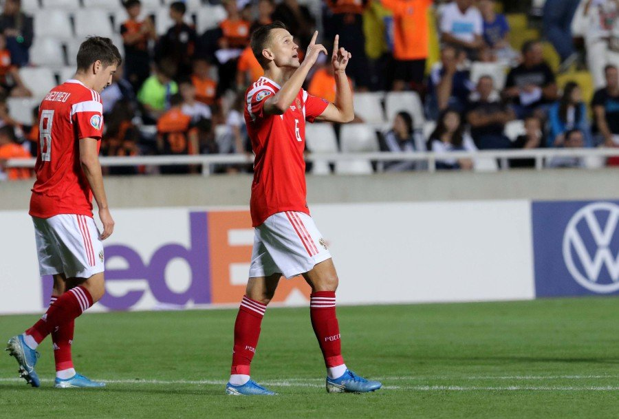 Russia's Denis Cheryshev celebrates after scoring a goal during the UEFA EURO 2020, Group I qualifying soccer match between Cyprus and Russia at the GSP stadium in Nicosia, Cyprus. - EPA