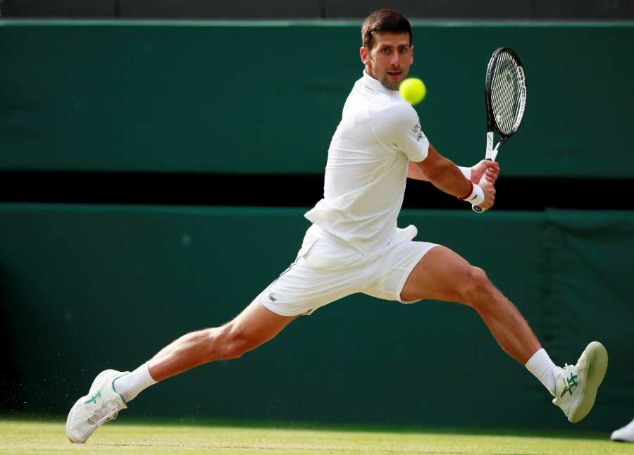 Serbia's Novak Djokovic in action during his fourth round match against France's Ugo Humbert. - Reuters