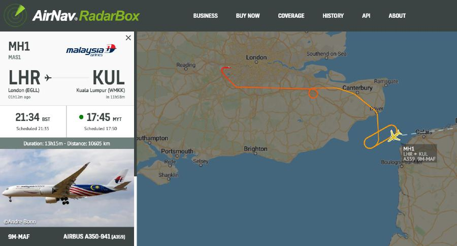 Malaysia Airlines flight from London returns to Heathrow