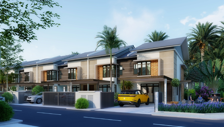 An artist impression of the type of double-storey terraced houses available in Riverbank Cove. Courtesy of RH Consortium