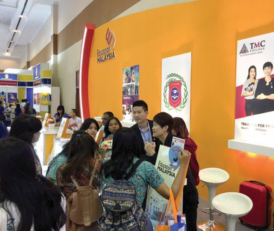 Promoting tertiary education in Malaysia at an education fair in Jakarta, Indonesia.
