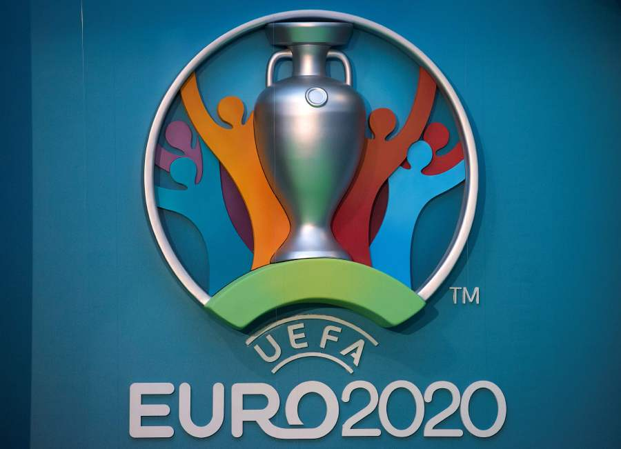 (FILES) In this file photo taken on September 21, 2016 the logo for the UEFA European Championship football competition is displayed during a launch event in London. - UEFA has proposed postponing the European Championship, due to take place across the continent in June and July this year, until 2021 at crisis meetings on March 17, 2020, a source close to European football's governing body told AFP. The move comes with football across the continent having ground to a halt due to the ongoing coronavirus pandemic which has led to lockdowns in several countries and border closures. (Photo by JUSTIN TALLIS / AFP)