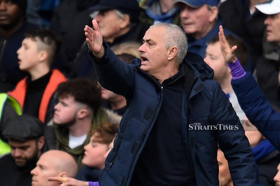 Tottenham Hotspur's Portuguese head coach Jose Mourinho reacts during the English Premier League football match between Chelsea and Tottenham Hotspur at Stamford Bridge in London on February 22 2020. AFP