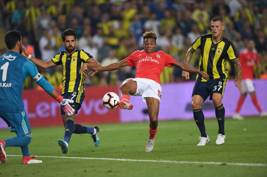 Benfica's Gelson Fernandes (centre) kicks the ball as Fenerbahce's goalkeeper Volkan Demirel (left), defenders Alper Potuk (2nd-left) and Martin Skrtel (right) look on during UEFA Champions league third round second leg qualifying football match between Fenerbahce SK and SL Benfica at the Fenerbahce Ulker stadium in Istanbul. AFP