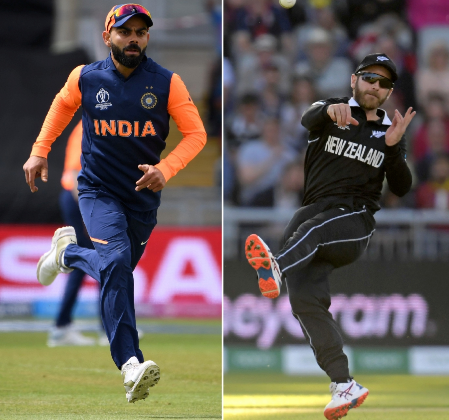 (File pix) A combination of file pictures created in London on July 7, 2019 shows India's captain Virat Kohli (left) fielding during the 2019 Cricket World Cup group stage match between England and India at Edgbaston in Birmingham, central England, on June 30, 2019 and New Zealand's captain Kane Williamson (right) throwing at the stumps during the 2019 Cricket World Cup group stage match between West Indies and New Zealand at Old Trafford in Manchester, northwest England, on June 22, 2019. AFP Photo