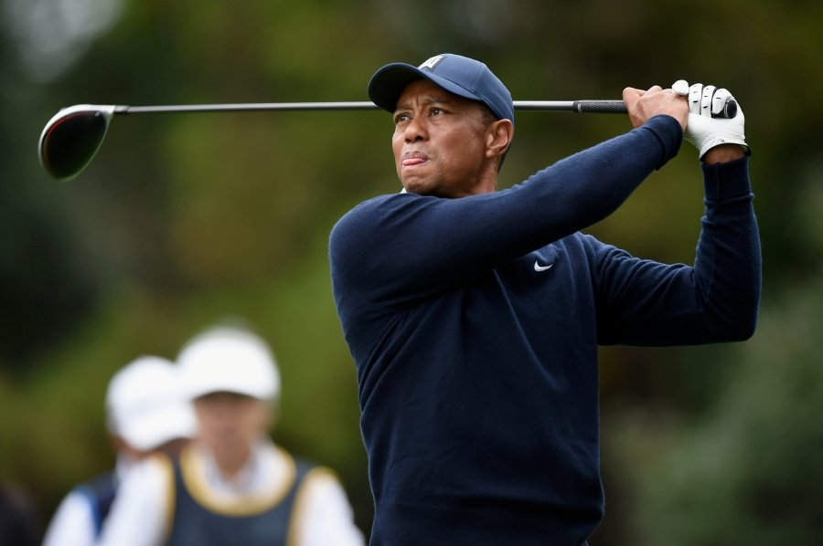 FILE PHOTO: Oct 21, 2019; Chiba, JAPAN; Tiger Woods plays a tee shot on the 11th hole during The Challenge: Japan Skins golf competition at Accordia Golf Narashino Country Club. Mandatory Credit: Matt Roberts-USA TODAY Sports/File Photo