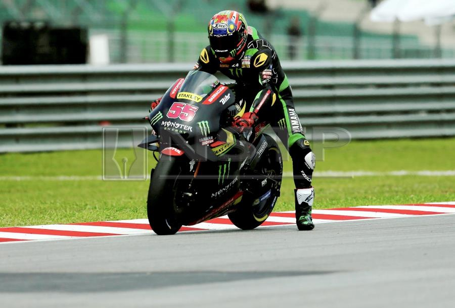 Troubled by corner exiting and braking issues, MotoGP rookie Hafizh Syahrin Abdullah struggled to make an impact on the opening day of the Shell Malaysia Motorcycle Grand Prix at Sepang today. pic by NSTP/LUQMAN HAKIM ZUBIR