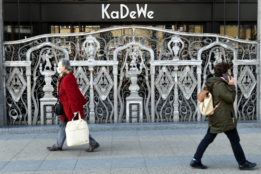 People walk past Berlin's famous KaDeWe shopping center on the Kurfuerstendamm boulevard during the spread of coronavirus disease (COVID-19) in Berlin, Germany. -REUTERS pic