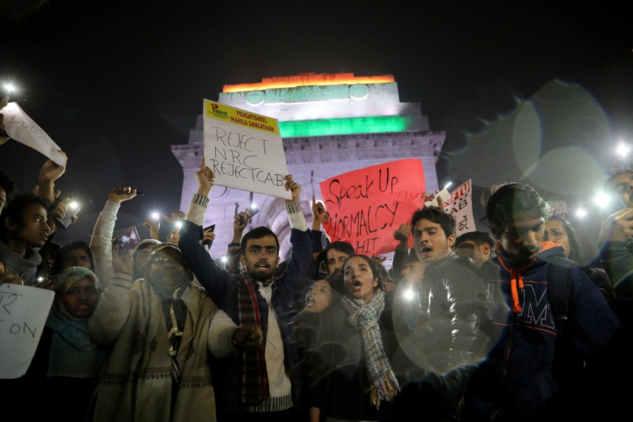 Demonstrators shout slogans during a protest against the Citizenship Amendment Bill, a bill that seeks to give citizenship to religious minorities persecuted in neighbouring Muslim countries, in New Delhi, India, December 12, 2019.-Reuters