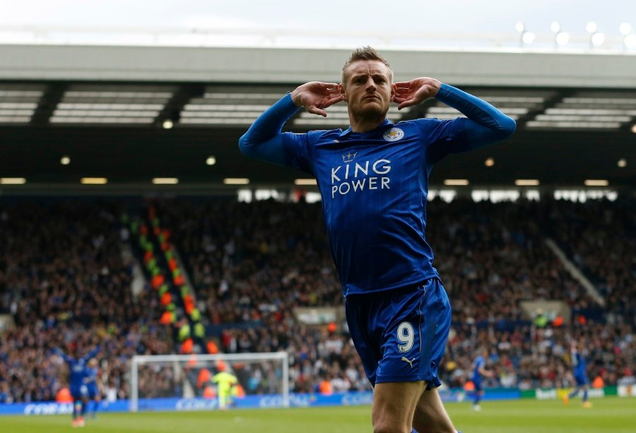 Leicester City's Jamie Vardy celebrates scoring the only goal in a 1-0 over West Brom. REUTERS