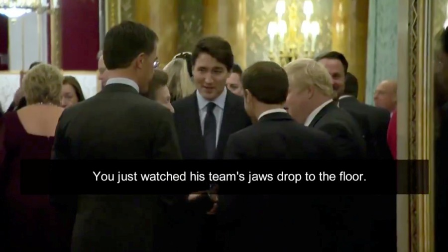 Canadian Prime Minister Justin Trudeau, French President Emmanuel Macron, British Prime Minister Boris Johnson and Dutch Prime Minister Mark Rutte chat ahead of the NATO summit, at a reception at Buckingham Palace in London, Britain in this still image taken from social media video. -Power and Politics/CBC News via Reuters