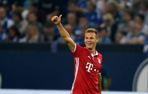Bayern Munich's Joshua Kimmich celebrates scoring the second goal against Schalke 04. AFP