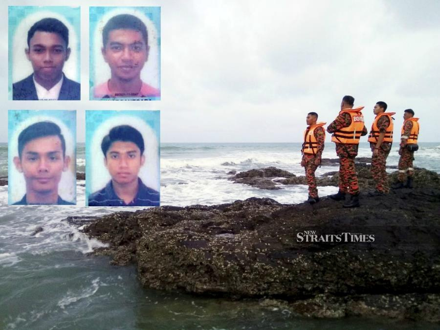A happy outing for six Sultan Mizan Zainal Abidin Polytechnic (PSMZA) students at Pantai Teluk Bidara here ended in tragedy today when four of them fell into the water and are believed to have drowned. NSTP