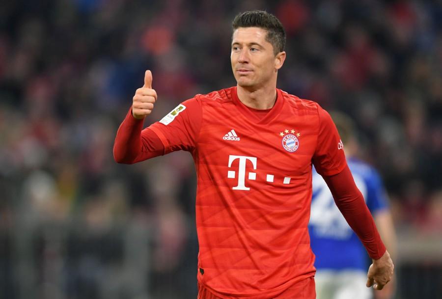 Bayern Munich's Robert Lewandowski gestures during the match against Schalke in Munich. -AFP