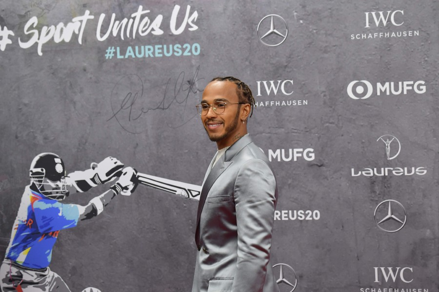 Laureus World Sportsman of the Year nominee Lewis Hamilton poses on the red carpet prior to the 2020 Laureus World Sports Awards ceremony in Berlin. - AFP
