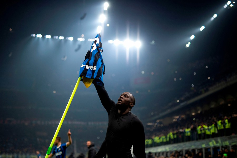 Inter Milan's forward Romelu Lukaku finished of a superb move to add in the fourth goal against AC Milan. -AFP
