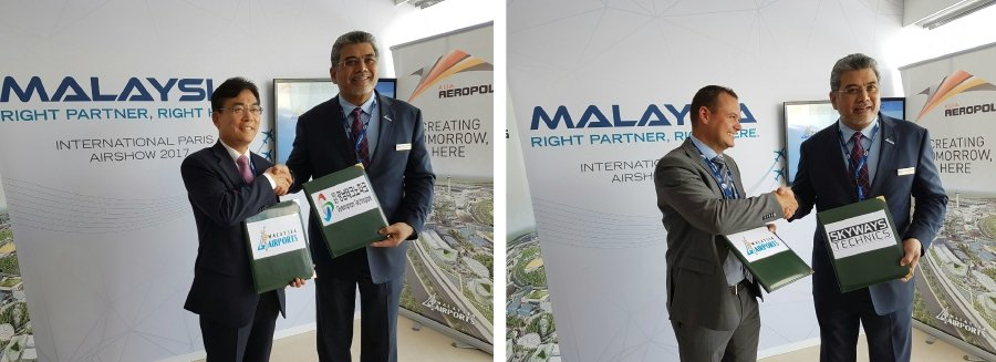 MAHB managing director Datuk Badlisham Ghazali signed the agreement on behalf of MAHB while GNTP was represented by chief executive officer Lee Tae-Sung (left)and Skyways Technics was represented by its CEO Benjamin Nielsen (right).