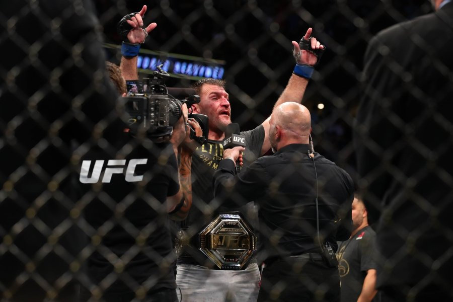 ANAHEIM, CALIFORNIA - AUGUST 17: Stipe Miocic celebrates his win over Daniel Cormier after their UFC Heavyweight Title Bout at UFC 241 at Honda Center on August 17, 2019 in Anaheim, California. - Joe Scarnici/Getty Images/AFP
