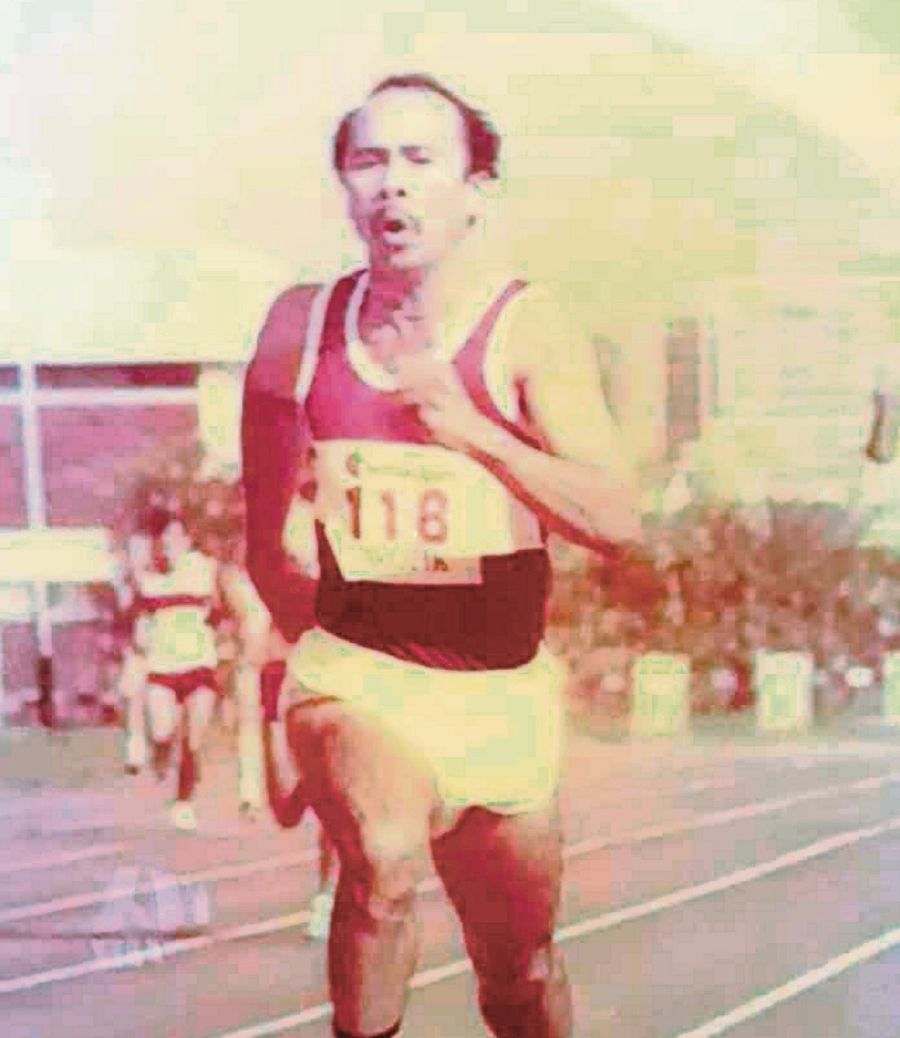 The late Datuk Monggoh Orow as a hurdler in his younger days. NSTP/Courtesy of VICTOR SUAN OROW