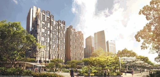 An artist's impression of the Marina One integrated development near the Marina Bay financial district.
