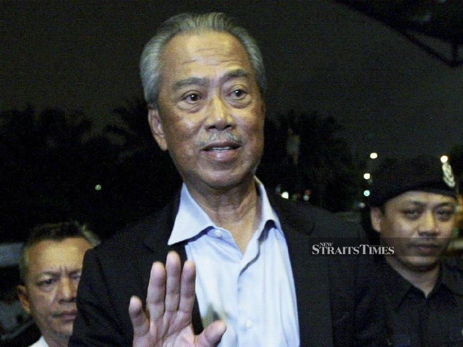 """""""I am not going to make a statement. Party secretary-general (Datuk Marzuki Yahya) is coming down to give a statement in a bit,"""" said Tan Sri Muhyiddin in addressing a horde of journalists waiting. - NSTP/MOHD FADLI HAMZAH"""