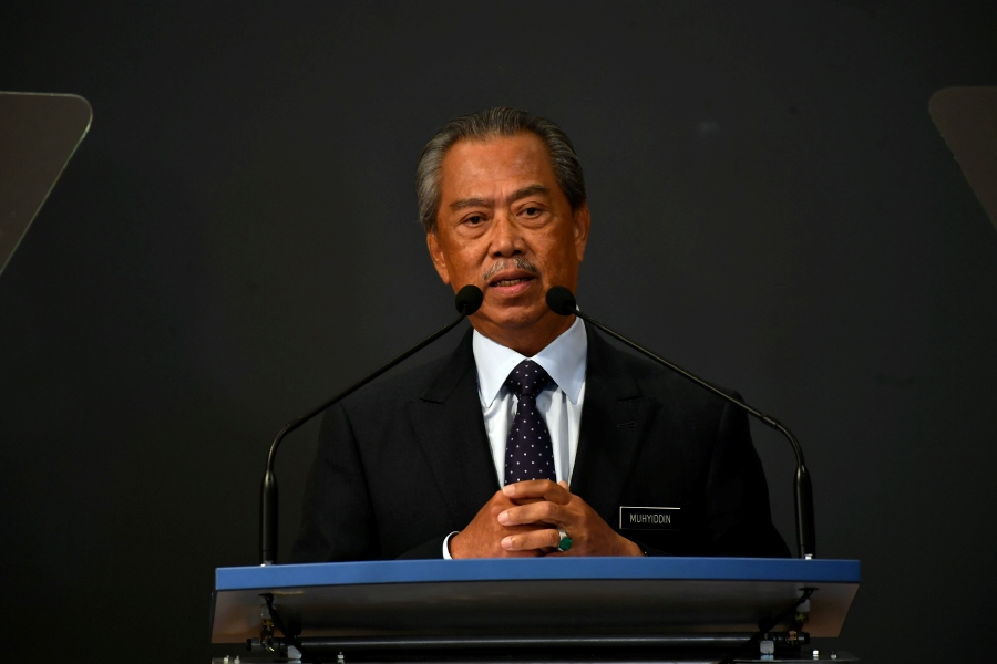 Prime Minister Tan Sri Muhyiddin Yassin speaking during a special press conference at the Perdana Putra today. --BERNAMA pic