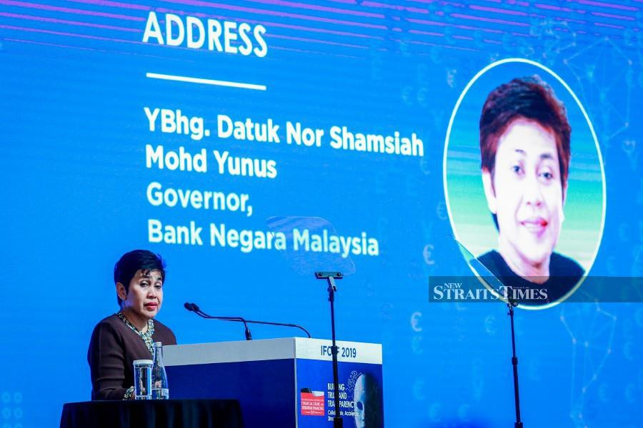 Bank Negara Malaysia governor Datuk Nor Shamsiah Mohd Yunus said while it was too early to draw any concrete conclusions, the total value of cash transactions reported had increased marginally, while the number of CTR reports received had nearly doubled. (NSTP/ASYRAF HAMZAH)