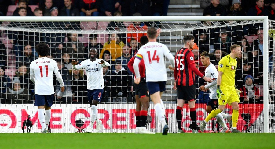 Liverpool's Naby Keita celebrates scoring their second goal against Bournemouth at Vitality Stadium, Bournemouth, Britain. - Reuters
