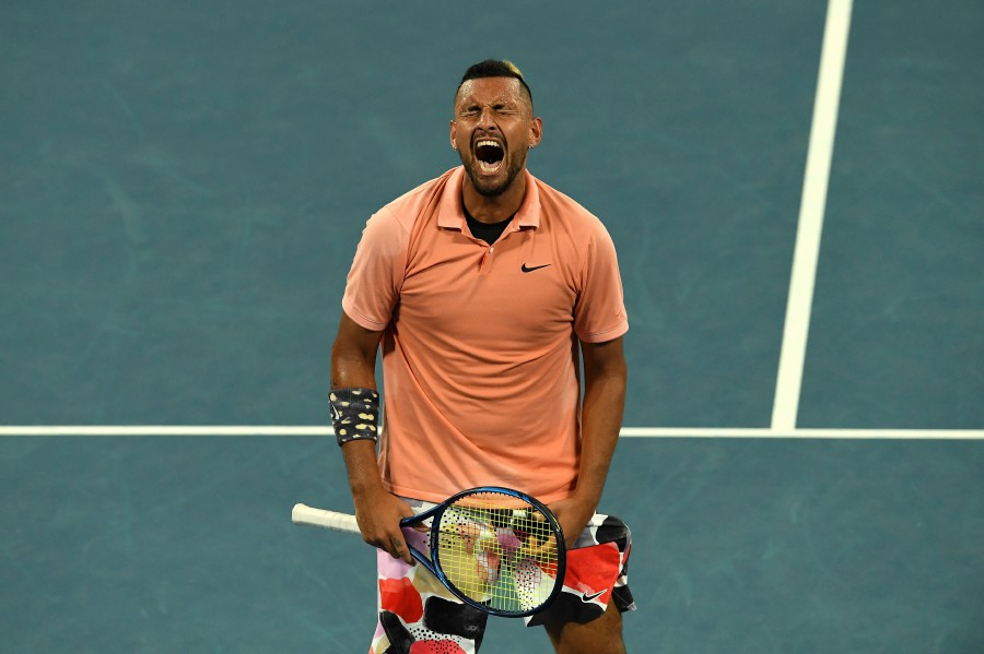 Australia's Nick Kyrgios reacts after a point against Russia's Karen Khachanov during their men's singles match on day six of the Australian Open tennis tournament in Melbourne. -AFP