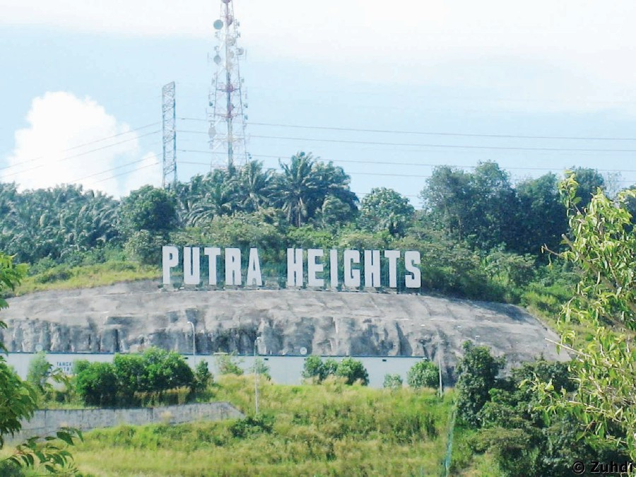 Putra Heights sign set in the foothills of Bukit Cermin. Wikipedia pic.